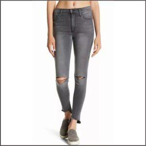 Joe's High Rise Skinny Jeans Raw Hem Destroyed